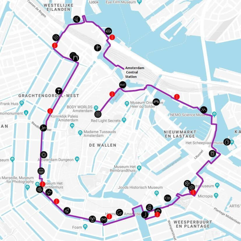Amsterdam Light Festival 2018 2019 - walking route 1