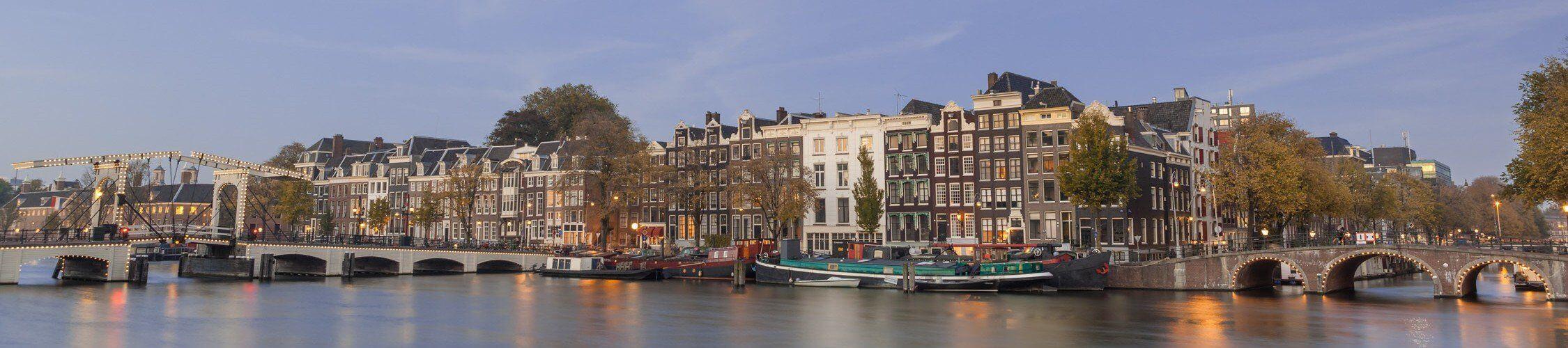 The beautiful Skinny Bridge crossing the Amstel River