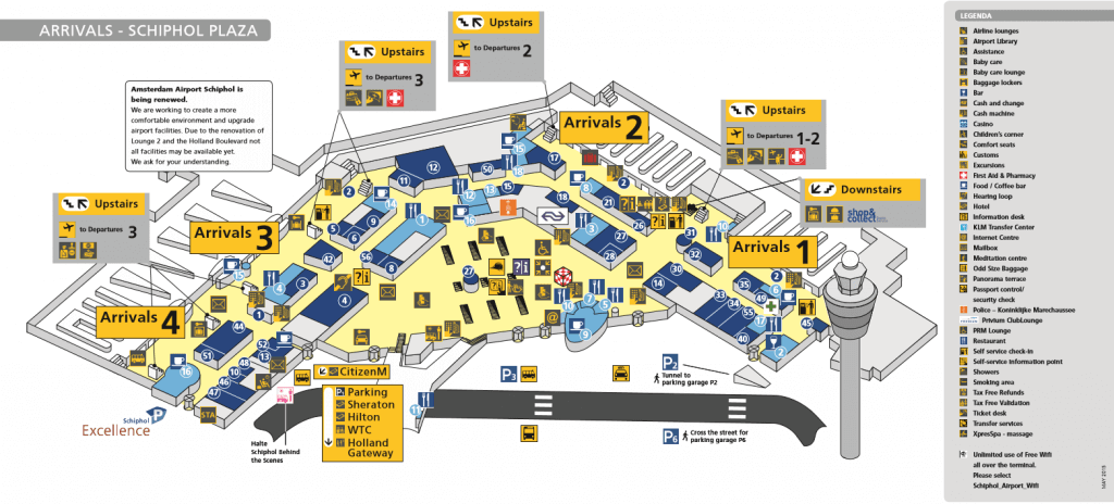Amsterdam Airport map - arrivals