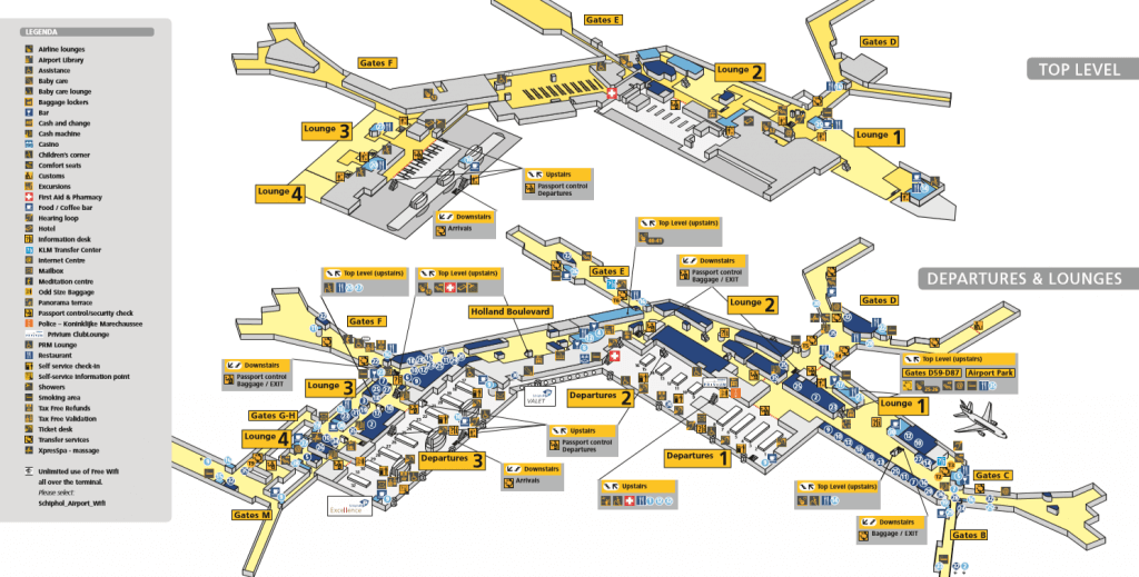 Amsterdam Airport map - departures