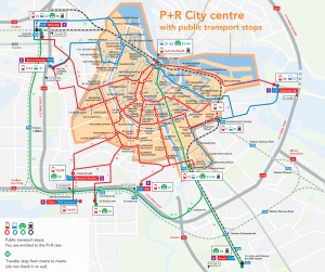 Map of P+R in Amsterdam