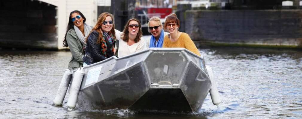 Small electric rental boat in Amsterdam