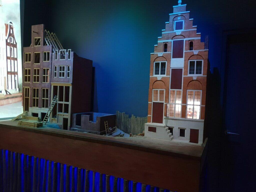 A depiction of canal houses in Museum Het Grachtenhuis