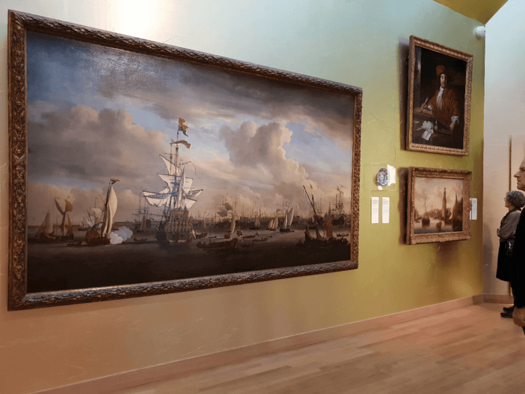 A painting depicting the colonial past of the Netherlands in Amsterdam Museum