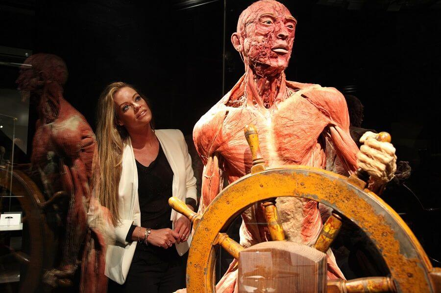 Inge de Bruijn visiting BODY WORLDS Amsterdam
