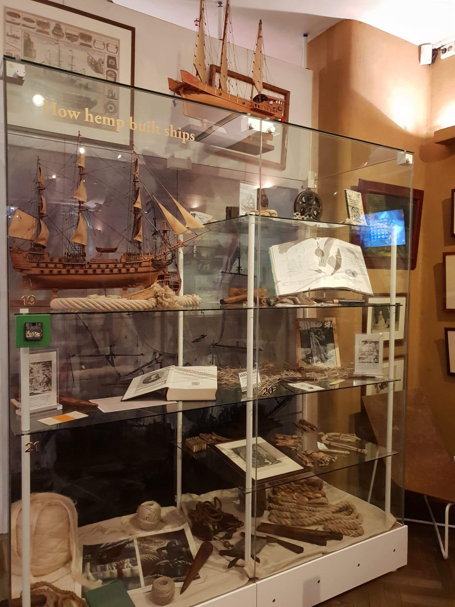 Boating instruments made from hemp at Hash Marihuana Museum Amsterdam