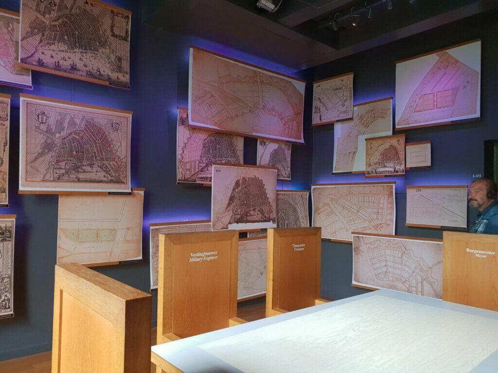Drawings showing the building plans for the construction of canal houses in 15th-century Amsterdam at the Museum het Grachtenhuis Amsterdam