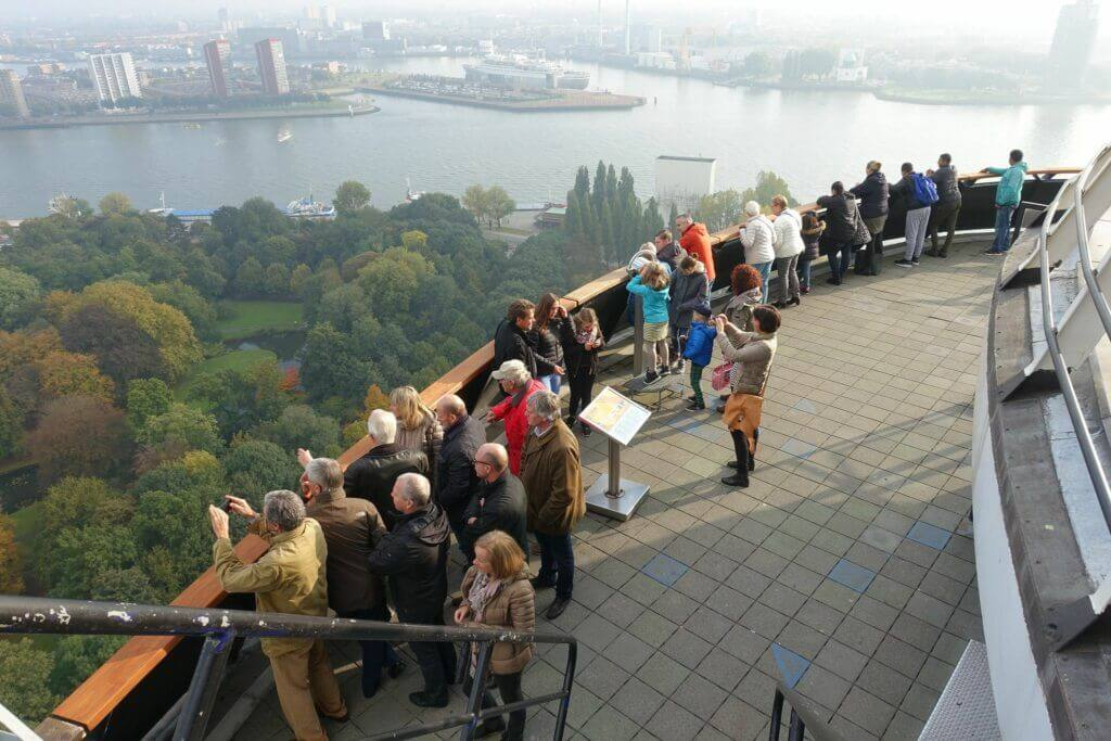 Guests enjoying a 360-degree view of Rotterdam from the Euromast