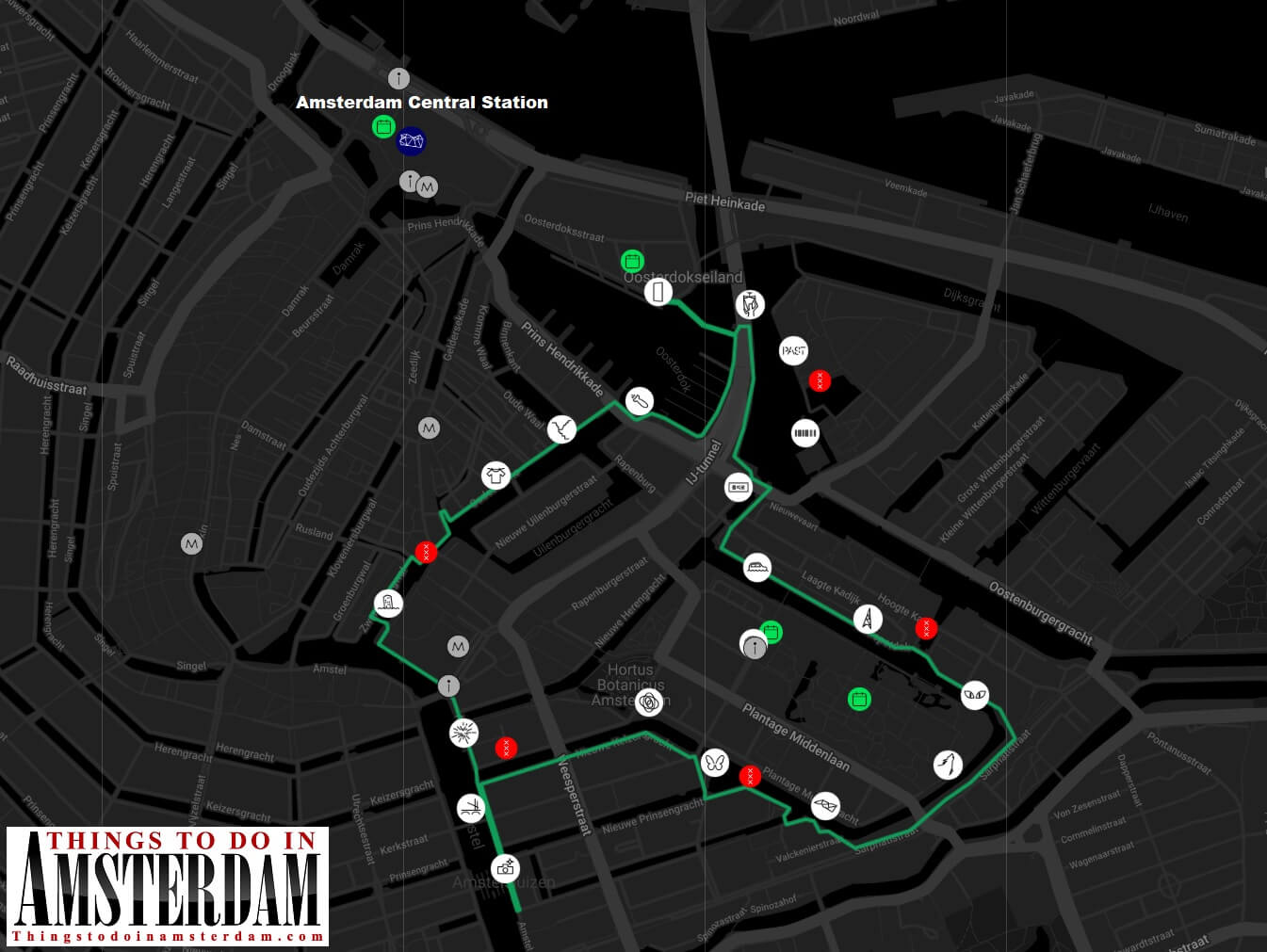 Amsterdam Light Festival 2019-2020 walking route